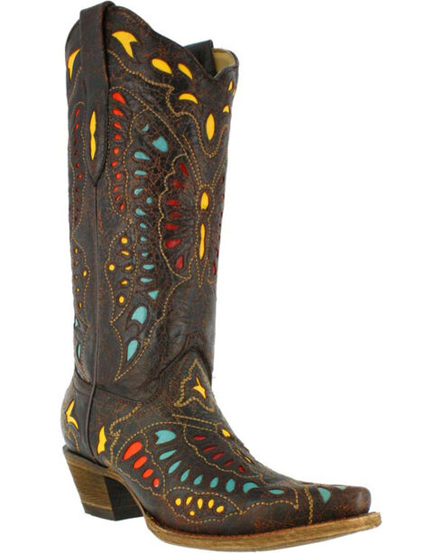 Corral Women's Butterfly Inlay Western Boots - Snip Toe, Brown, hi-res