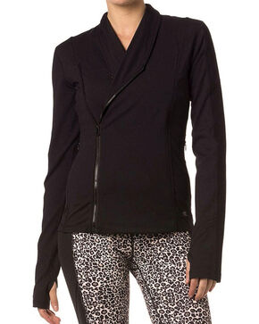 Miss Me Women's Side Zip Athletic Sweater, Black, hi-res