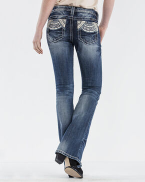 Miss Me Women's Low Rise Embroidered Pocket Jeans - Boot Cut, Blue, hi-res