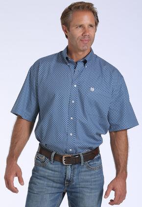 Cinch Men's Blue Geo Print One Pocket Short Sleeve Shirt , Blue, hi-res
