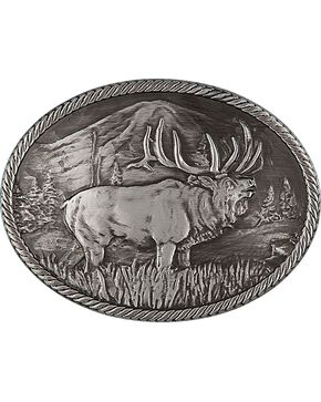 Montana Silversmiths Gunmetal Outdoor Series Wild Elk Carved Buckle, Silver, hi-res