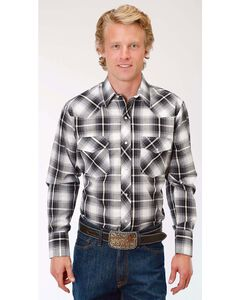 Roper Men's Black/White/Gold Plaid Long Sleeve Snap Shirt - Big & Tall, Black, hi-res