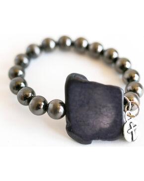 West & Co. Women's Silver Bead Black Stone Bracelet, Silver, hi-res