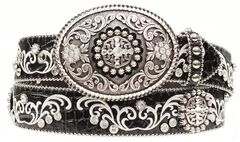 Ariat Croc Print Embroidered Bling Belt, Black, hi-res