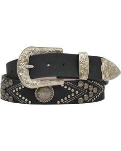 "Angel Ranch Women's 1.5"" Studs & Conchos Fashion Belt, Black, hi-res"