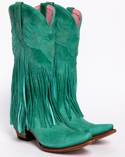 Junk Gypsy by Lane Women's Turquoise Dreamer Boots - Snip Toe , Turquoise, hi-res