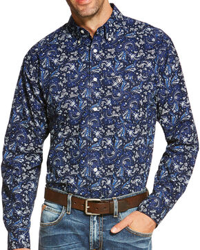 Ariat Men's Indigo Olex Print Long Sleeve Shirt , Indigo, hi-res