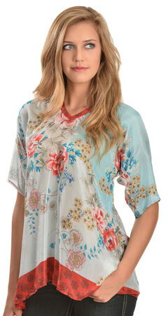 Johnny Was Women's Poe Printed Silk Top, Print, hi-res