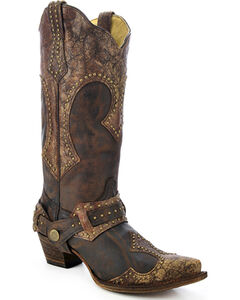 Corral Women's Studded Harness Cowgirl Boots - Snip Toe, , hi-res