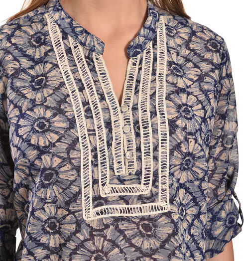 Tantrums Women's Blue Floral Crochet Peasant Top - Plus, Blue, hi-res