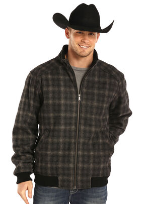 Powder River Outfitters Men's Black Plaid Wool Bomber Coat , Black, hi-res