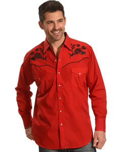 Ely Cattleman Men's Red Floral Embroidered Shirt , Red, hi-res