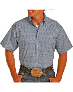 Tuf Cooper Men's Poplin Print Short Sleeve Shirt , Blue, hi-res