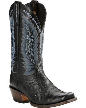 Ariat Super Stakes Full Quill Ostrich Cowboy Boots - Square Toe, Black, hi-res