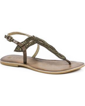 Roper Women's Brown Leather Cooper Metal Beaded Thong Sandals , Brown, hi-res