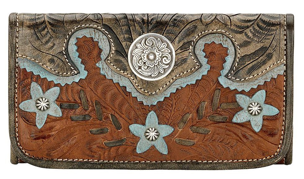 AW Desert Wildflower Tri-Fold Wallet, Brown, hi-res
