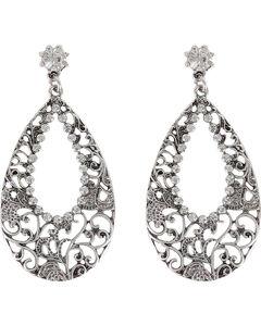 Shyanne Women's Rhinestone Cutout Teardrop Earrings, Silver, hi-res