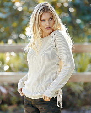 Elan Women's Oatmeal Lace Up Side Sweater , Oatmeal, hi-res