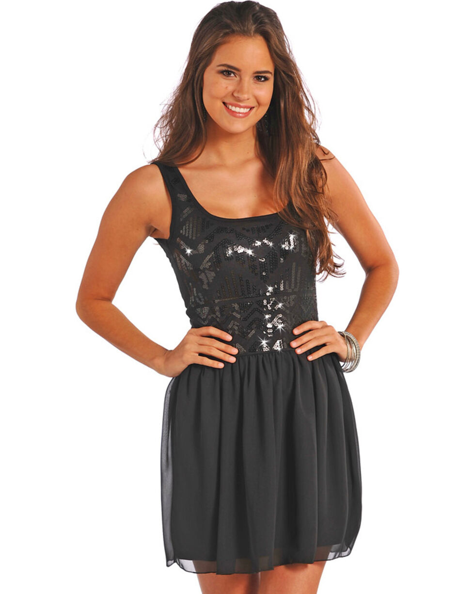 Rock & Roll Cowgirl Women's Black Ballerina Tank Dress , Black, hi-res