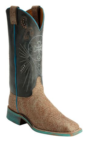 Justin Bent Rail Cross Stitched Sky Blue Cowgirl Boots - Square Toe, Tan, hi-res