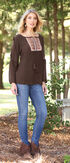 Wrangler Women's Brown Embroidered Peasant Top , Brown, hi-res