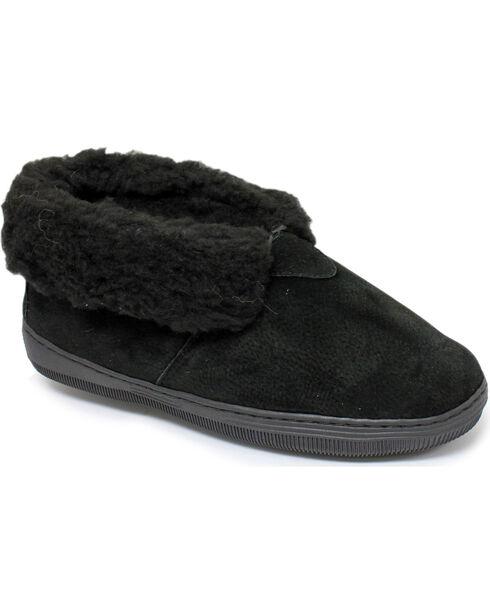 Women's Chestnut Leather Slipper Bootie, Black, hi-res