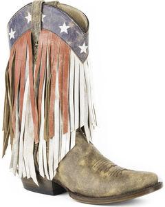 Roper Women's Brown Americana Fringe Boots - Square Toe , Brown, hi-res