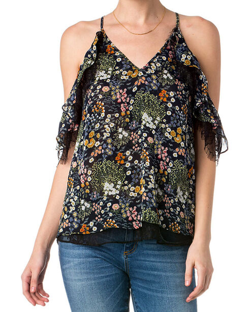 Miss Me Women's Heart's Desire Open Shoulder Top , Dark Blue, hi-res