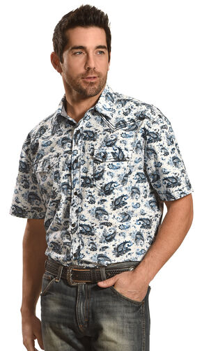 Moonshine Spirit Men's Paisley Short Sleeve Western Shirt, Blue, hi-res