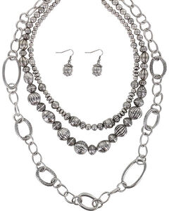Shyanne Women's Beaded Necklace Set, Silver, hi-res
