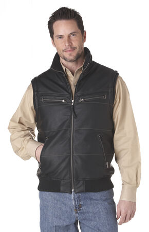 Cripple Creek Zip Front Distressed Faux Leather Polyfill Vest - Black, Black, hi-res