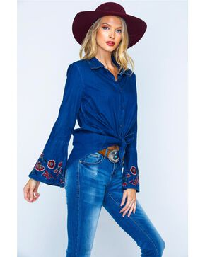 New Direction Women's Embroidered Bell Sleeve Denim Shirt, Indigo, hi-res