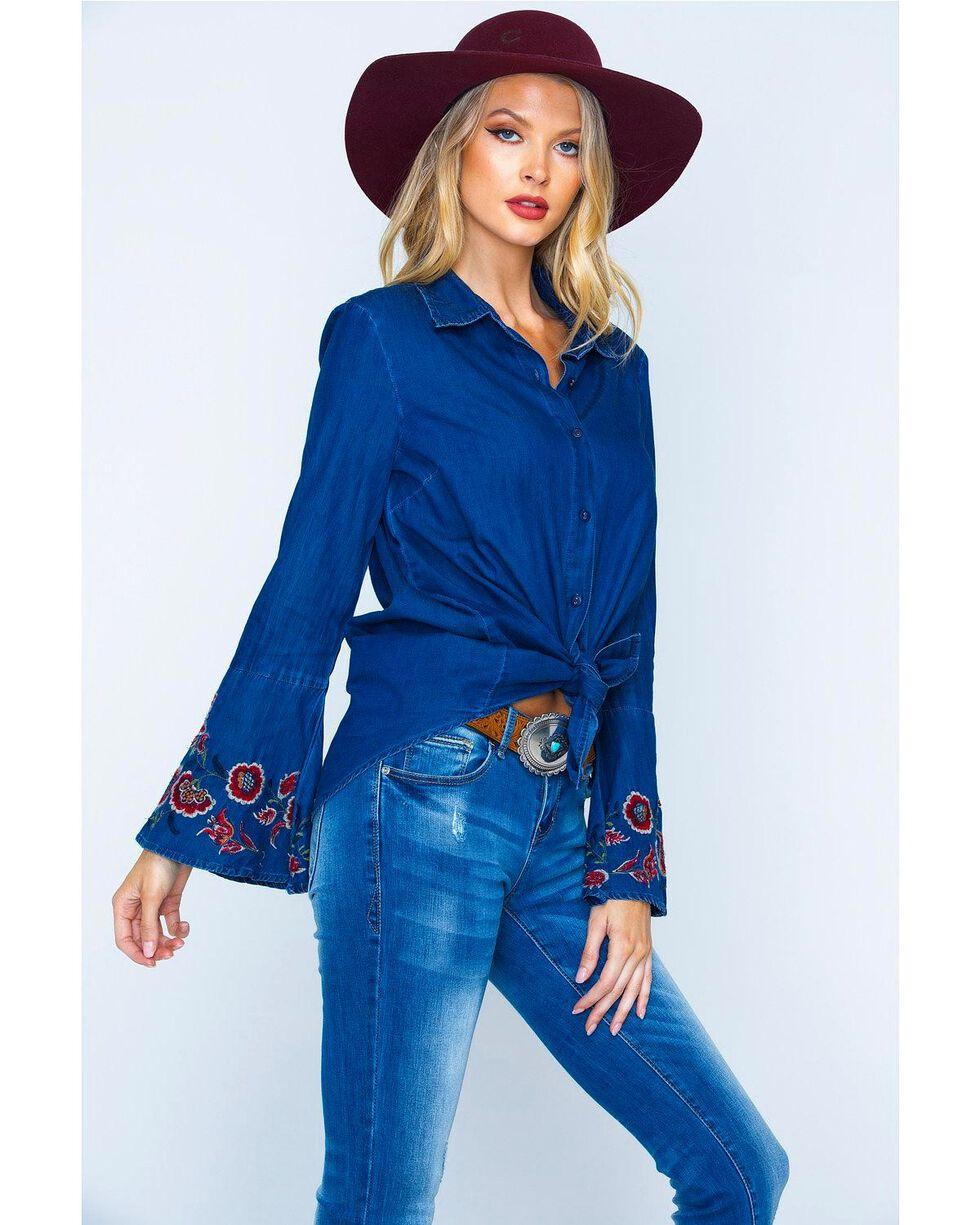 New Direction Women's Embroidered Bell Sleeve Denim Shirt, Indigo, hi-res