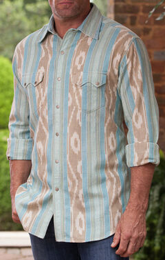 Ryan Michael Men's Sky Ikat Western Shirt , Blue, hi-res