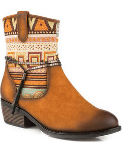 Roper Women's Tan Rios Tribal Pattern Western Boots - Round Toe, Tan, hi-res