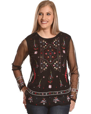 New Direction Sport Women's Black Long Sleeve Embroidered Top , Black, hi-res