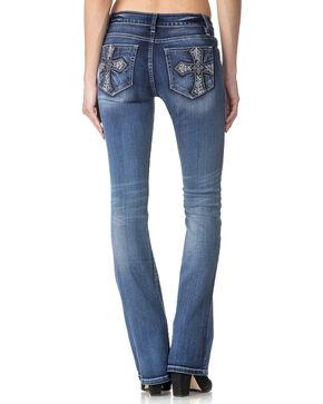 Miss Me Women's Indigo Cross Pocket Jeans - Boot Cut , Indigo, hi-res