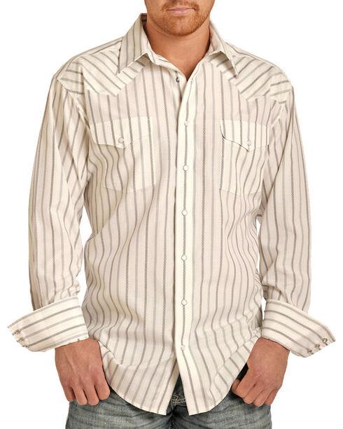 Panhandle Men's White Striped Western Long Sleeve Shirt, White, hi-res