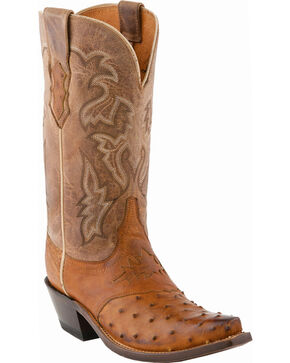 Lucchese Women's Handmade Augusta Full-Quill Ostrich Cowgirl Boots - Snip Toe, Tan Burnish, hi-res