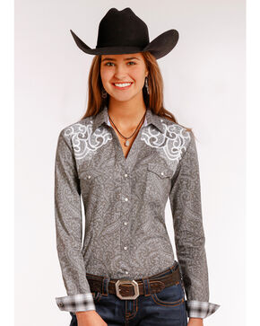 Rough Stock by Panhandle Women's Vintage Print Long Sleeve Snap Shirt, Grey, hi-res