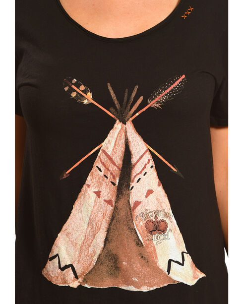 Bohemian Cowgirl Women's Teepee Short Sleeve Tee, Black, hi-res
