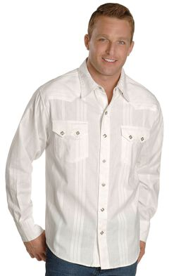 Scully White Dobby Striped Western Shirt, , hi-res