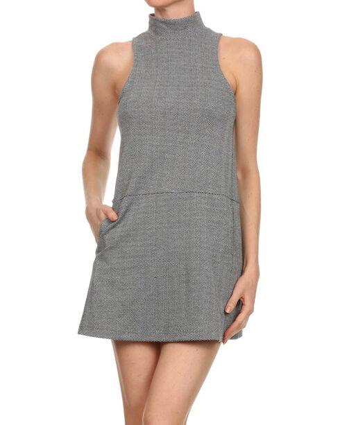 Freeway Apparel Women's Sleeveless Herringbone Dress, Grey, hi-res