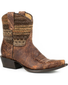 Roper Brown Vintage Distressed Sweater Short Cowgirl Boots - Snip Toe, , hi-res