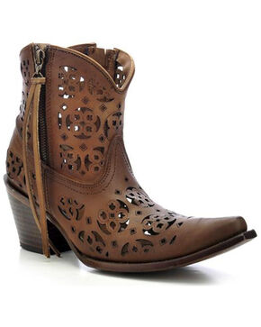 Corral Women's Cutout Short Boots - Snip Toe, Brown, hi-res