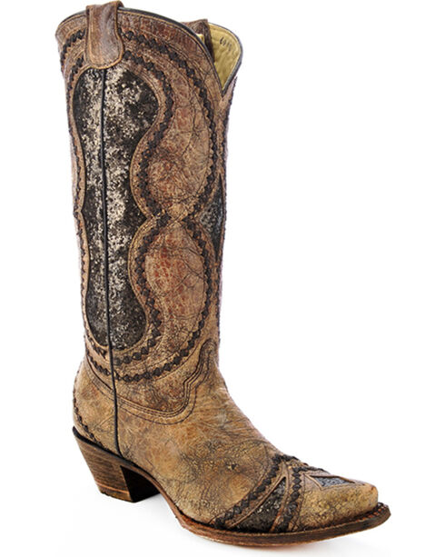 Corral Women's Glitter Diamond Inlay Strap Cowgirl Boots - Snip Toe , Cognac, hi-res