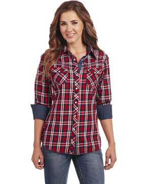 Cowgirl Up Women's Red Plaid Western Shirt , Red, hi-res