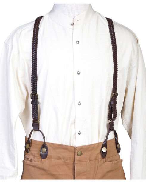 Scully Men's Flat Braided Suspenders, Brown, hi-res