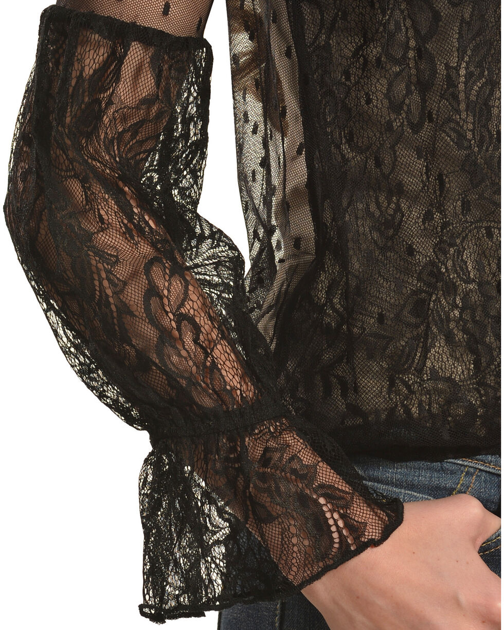 HYFVE Women's Lace Overlap Trumpet Sleeve Top, Black, hi-res