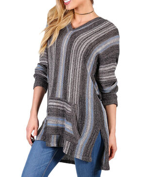 Shyanne Women's Striped Hooded Sweater, Black, hi-res